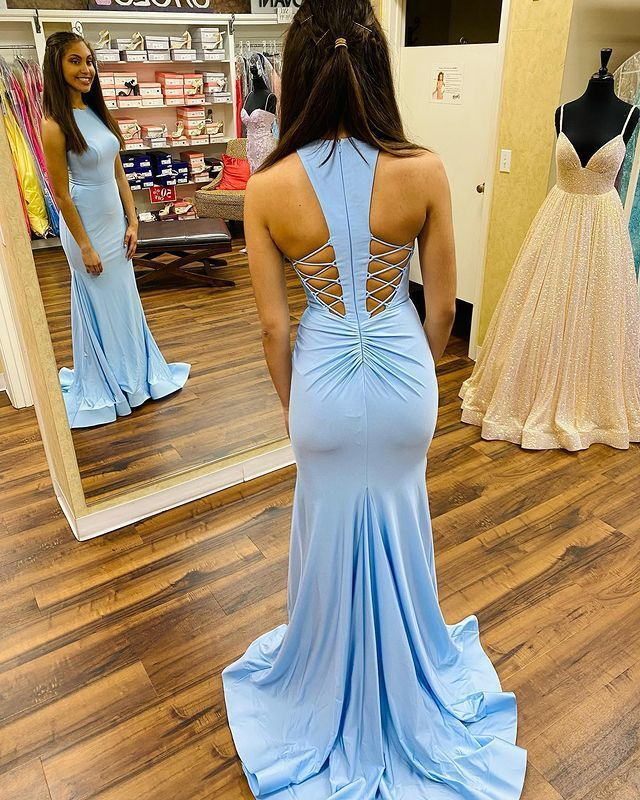 Sexy O-Neck Mermaid Prom Dresses,Long Prom Dresses,Cheap Prom Dresses, Evening