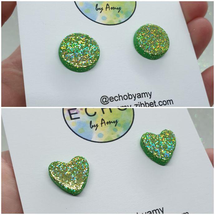 Green Glitter Studs - choose shape
