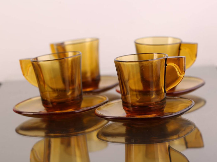 Vereco (France) Amber Espresso Cup and Saucer / Set of 4