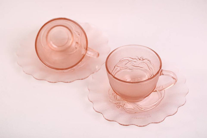 KIG (Indonesia) Pink Floral Pattern Large Tea Cups and Saucers / Set of 2 /