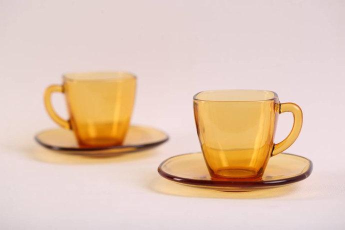 Vereco (France) Amber Espresso Cups and Saucers / Set of 2 / Vintage