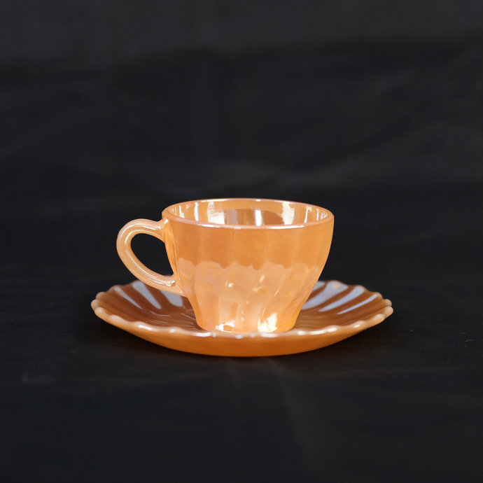 Termocrisa (Mexico) Peach Lustre Swirl Coffee Cup and Saucer / Set of 2