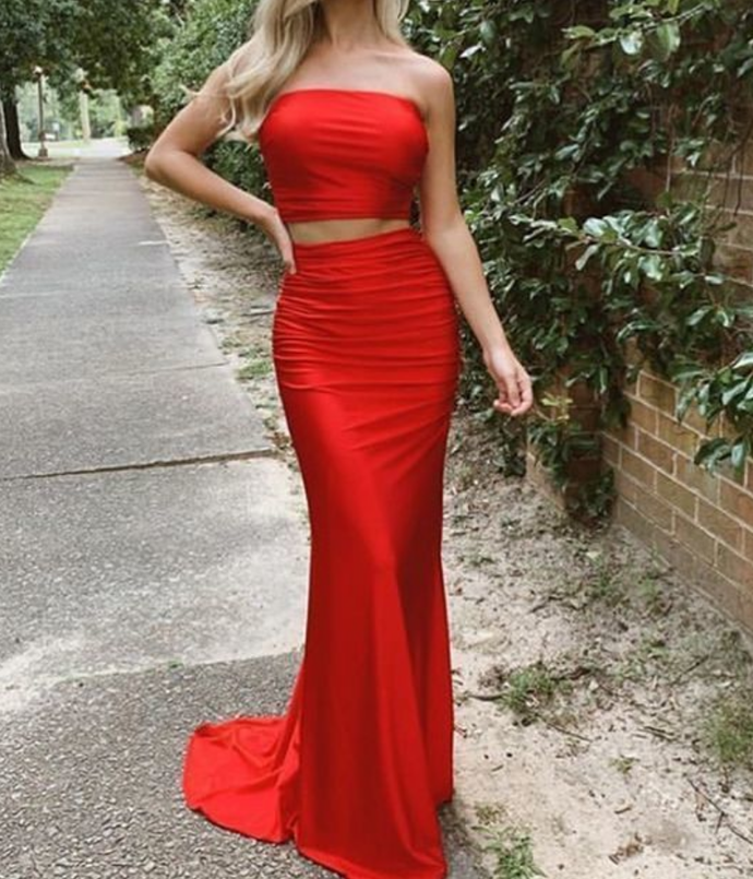Simple Two Piece Strapless Satin  Prom Dress