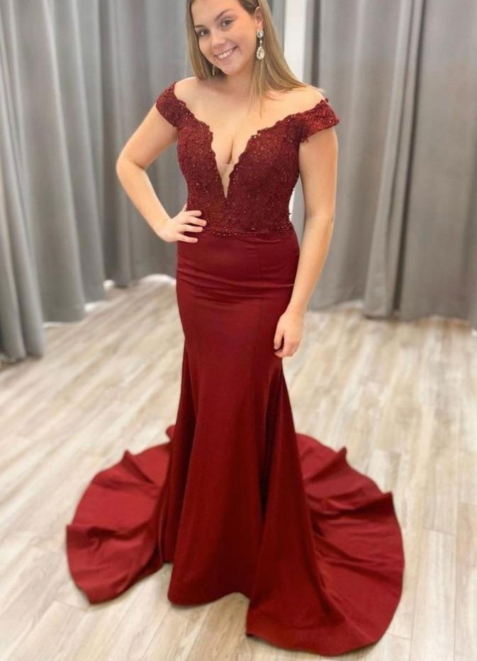 Burgundy v neck satin lace long prom dress burgundy evening dress