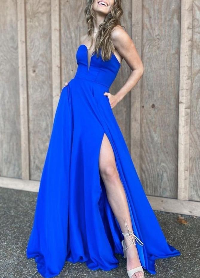 satin long prom dress  evening dress