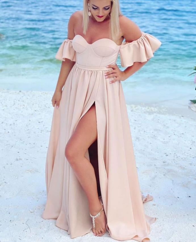 Simple long  prom dress,  bridesmaid dress