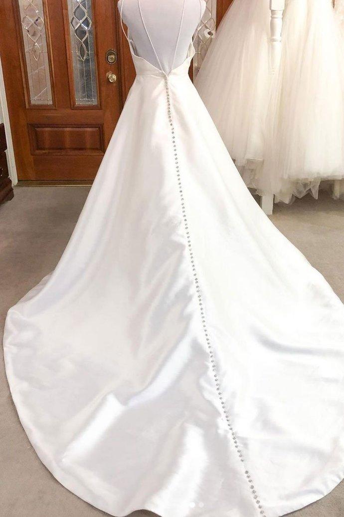 Simple  v neck satin long wedding dress  bridal dress