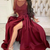 Long Sleeves Maroon Long Prom Dress with Slit, Burgundy Formal Graduation