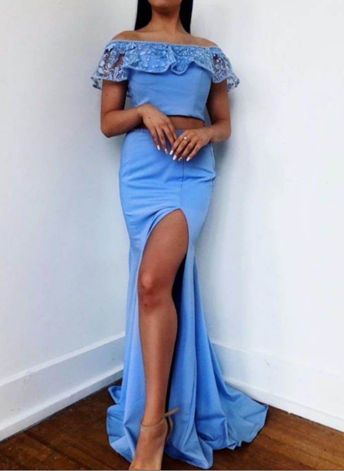 Off the Shoulder Two Piece Mermaid Prom Dresses with Slit