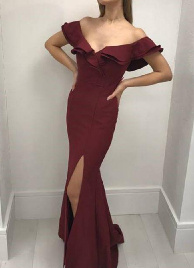 Satin Flounced Off-the-shoulder Prom Dress Mermaid Style