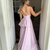 Satin One Shoulder Side Split Ruffles Prom Dress