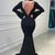 Mermaid Satin Long Sleeve Beading See Through V-neck Prom Dress