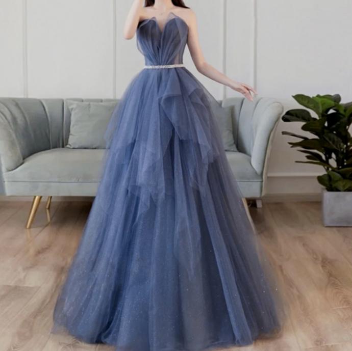 TULLE LONG PROM DRESS  EVENING DRESS