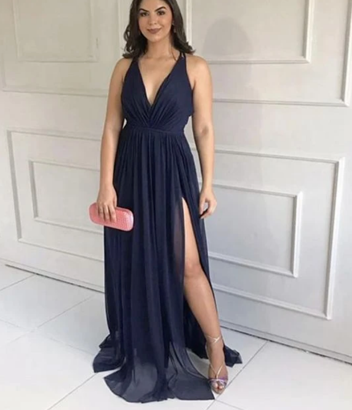 DEEP V NECK HIGH SLIT BRIDESMAID DRESSES CHIFFON PROM DRESS