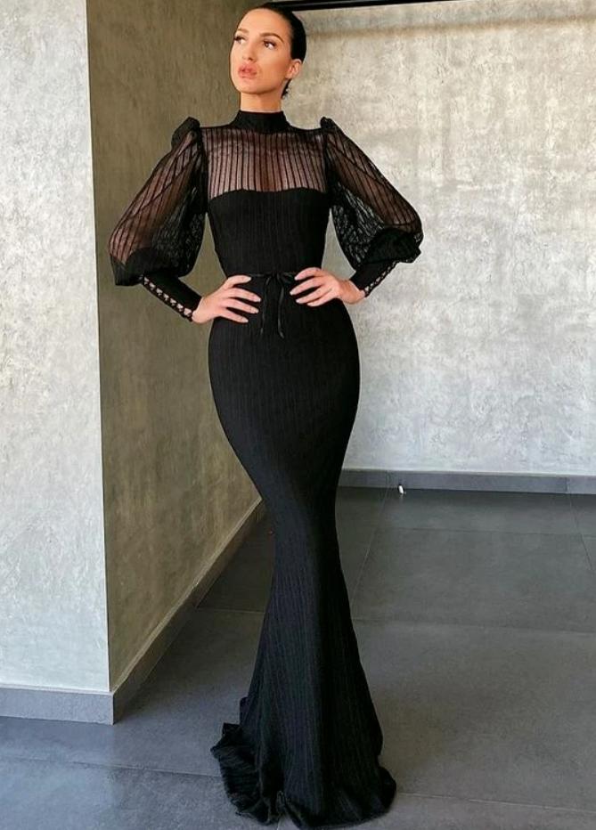 black long Evening prom Dress