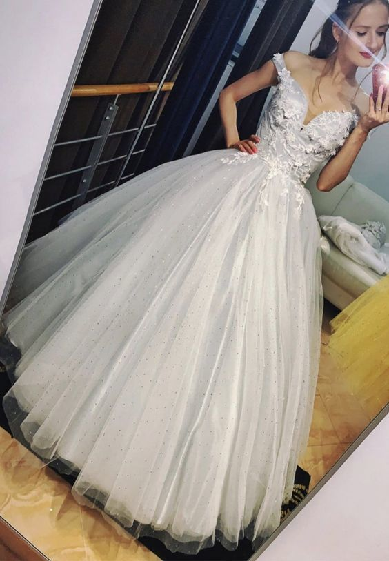 tulle lace long prom dress evening dress