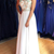 Unique A Line Colorful Beads Chiffon White Formal Dresses prom dress