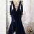 Navy Off Shoulder Choker Lace Velvet Mermaid Prom Dress