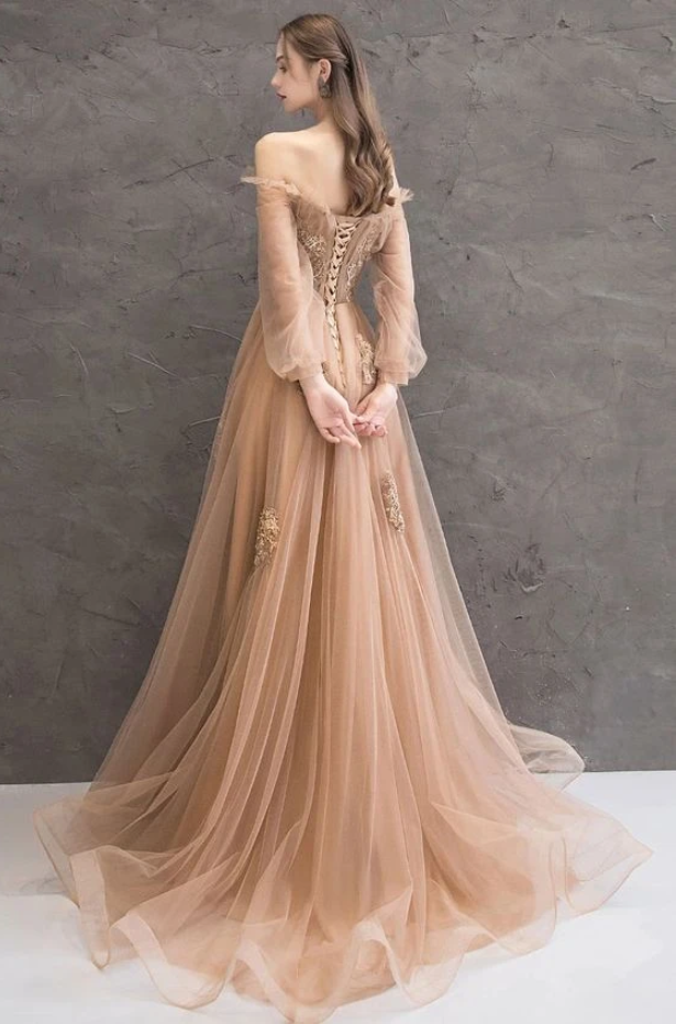Champagne tulle lace long prom dress champagne tulle evening dress