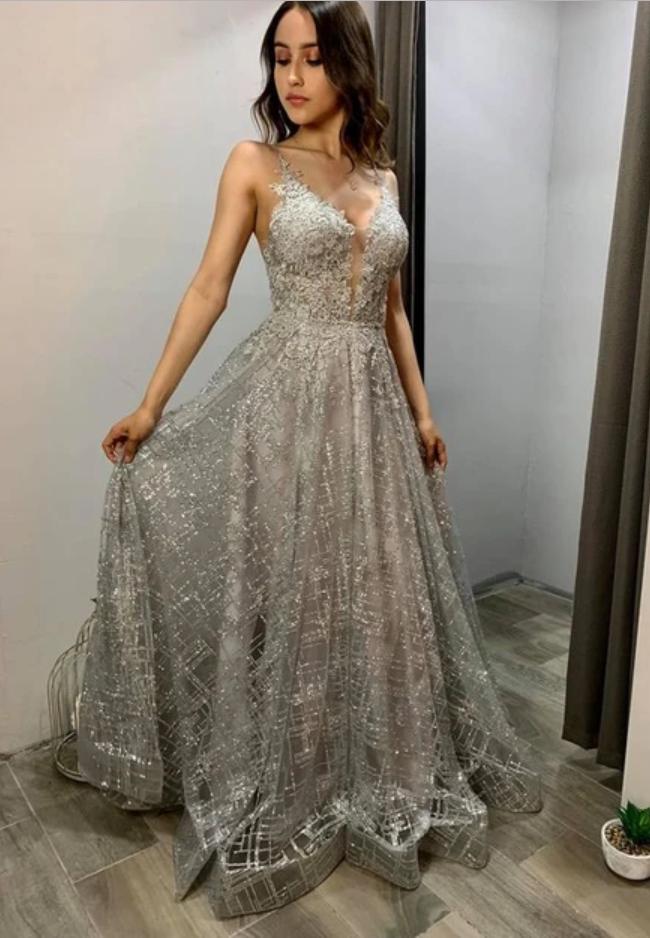 A-line V Neck Shiny Prom Dress , Bling Bling Prom Dress