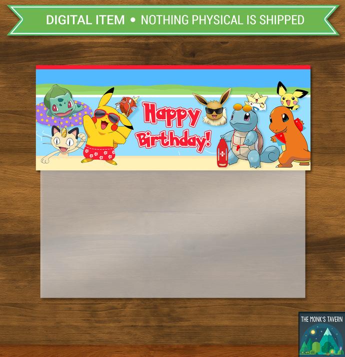 Pokemon Pool Party Candy Bag Topper * Pokemon Party Favor Bag * Pokemon Birthday