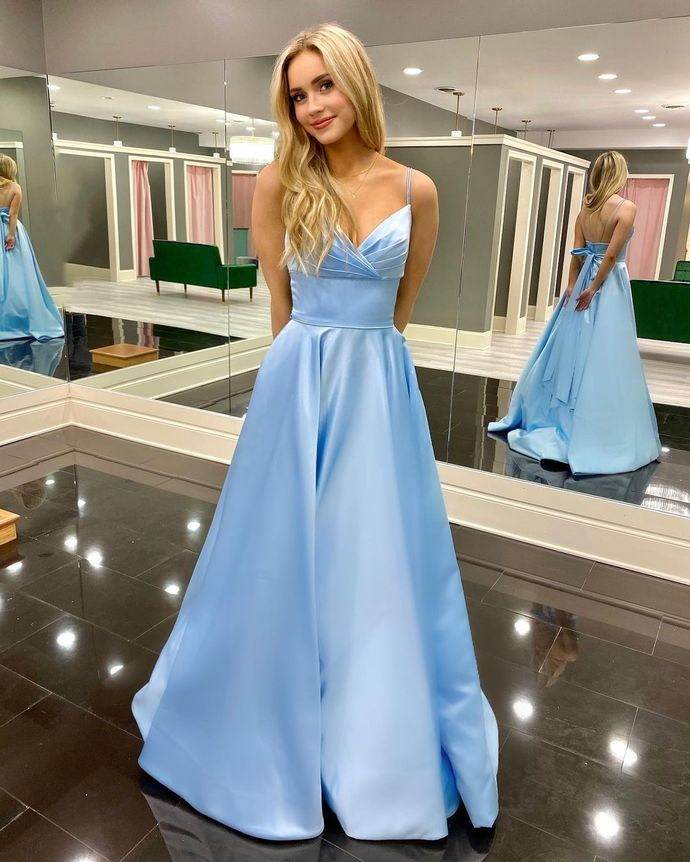 Charming Prom Dress,Satin Prom Gown,V-Neck Evening Dress,A-Line Prom Gown 060