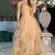 Gold v neck tulle long prom dress evening dress