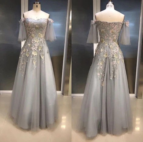 Gray Prom Dress,Tulle Prom Dress,Sweetheart Prom Dresses,Appliques Prom Dress