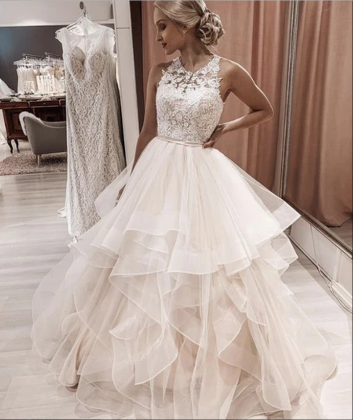 Pink tulle lace long ball gown dress prom dress