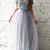 A-Line Round Neck Floor-Length Grey Tulle Prom Dress With Lace, Glamorous Short