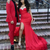 Beautiful Red Sweetheart Side Slit Prom Dresses with Feather
