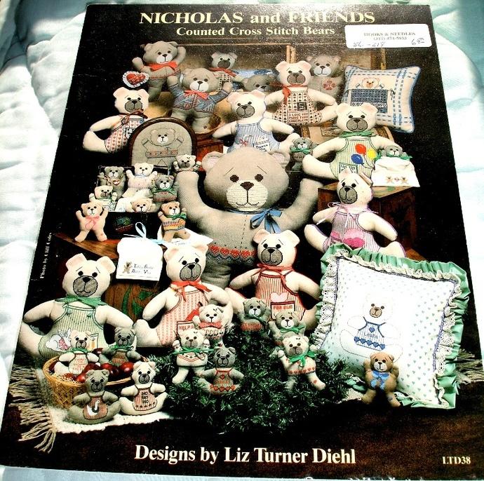 Nicholas And Friends Counted Cross Stitch Bears By Liz Turner Diehl LTD38