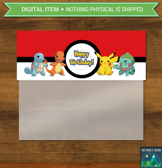 Pokemon Party Candy Bag Topper * Pokemon Party Favor Bag * Pokemon Birthday *