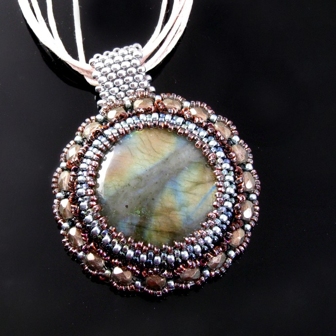Bead embroidered pendant with labradorite and crystals