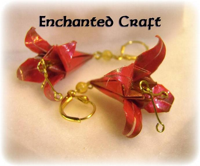 Origami Red Lily Earrings