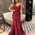 A Line V Neck Long Prom Dress With Train