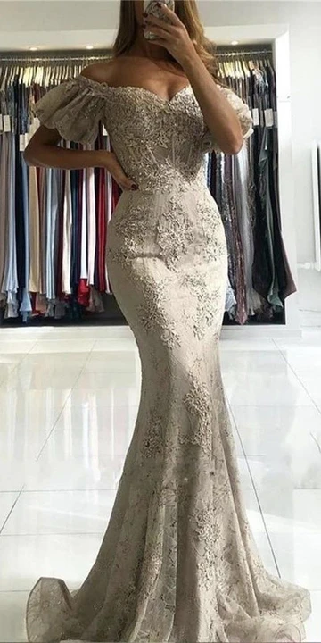 Mermaid Off the Shoulder Short Sleeves Appliques Tulle Prom Dress
