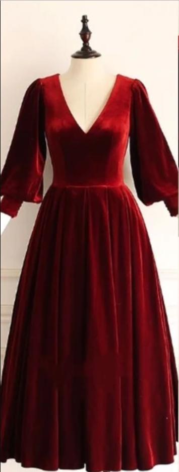 Vintage Style Burgundy Velvet Prom Dress  Vintage Style Burgundy Velvet Prom