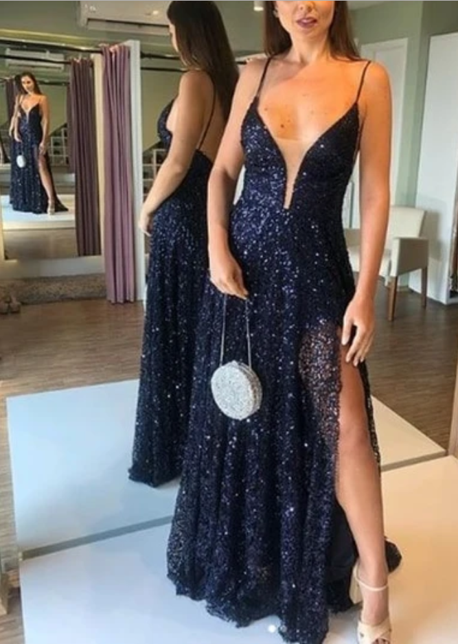 V-Neck Backless Long Sequin Prom Dress , Open Back Prom Dress