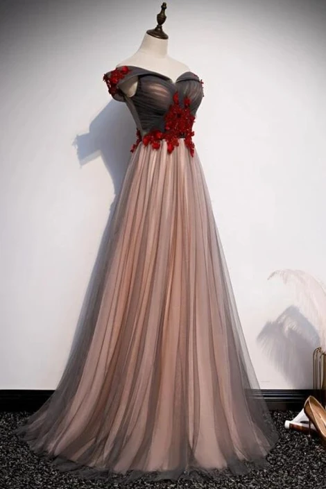 Off the shoulder brown A-line prom dresss floor length long
