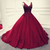 Burgundy tulle v neck ball gown quinceanera dresses flowers beaded prom dress