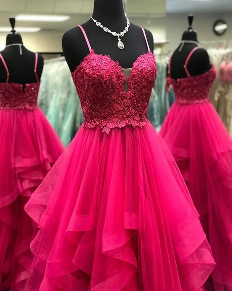Spaghetti Straps Prom dresses with lace top