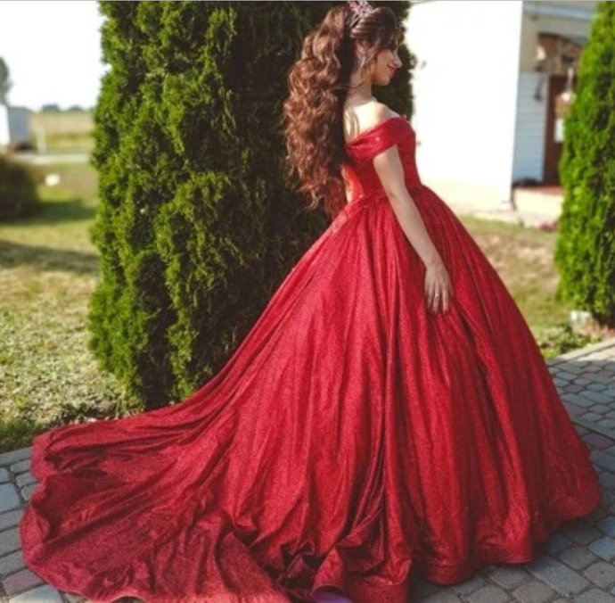 Red Ball Gown Prom dresses,Long Prom Dress, Prom Dresses