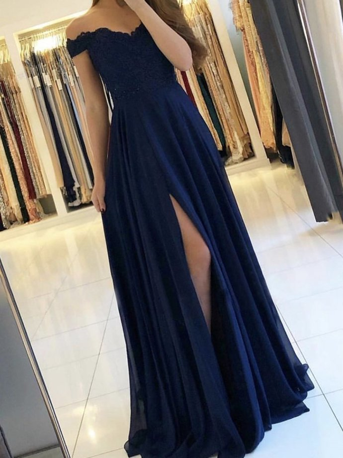 Navy Blue Chiffon Off Shoulder High Leg Slit Party Dress, Sweetheart Bridesmaid