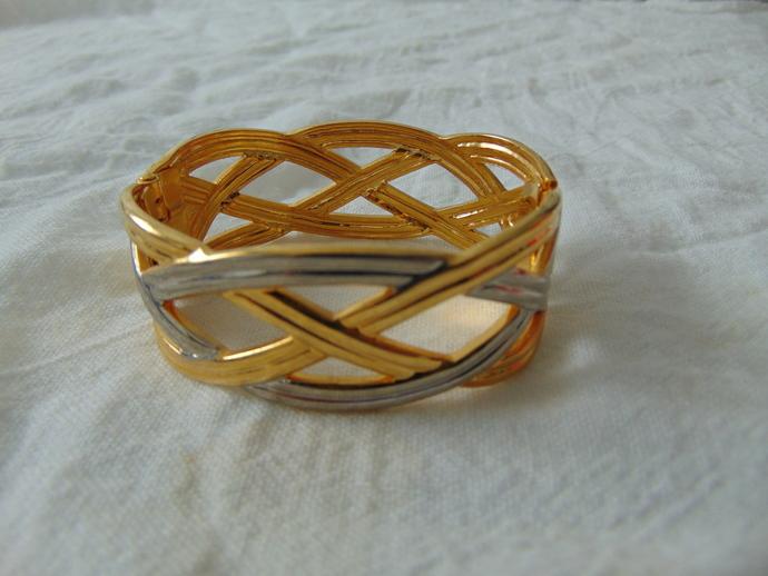 vintage silver gold braid bangle bracelet