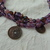vintage purple amethyst brass foreign coins multi strand necklace torsade