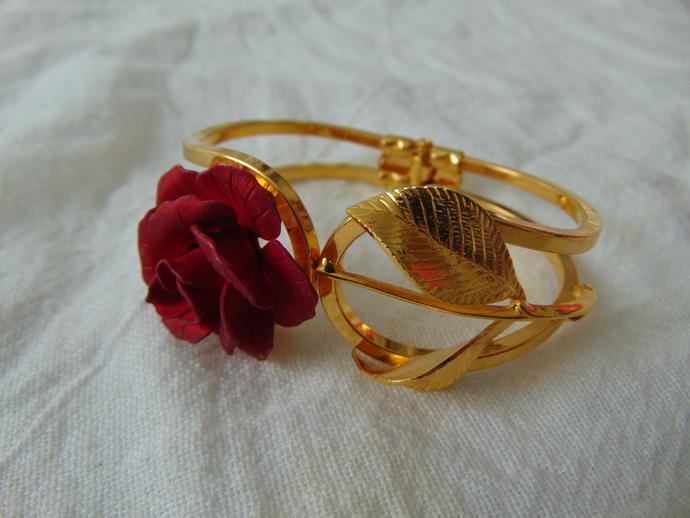vintage gold red rose stem clamper bracelet