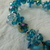 vintage blue teal clear silver crystal clusters bracelet magnetic closure