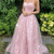 Tulle lace long A line prom dress evening dress,