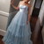 Strapless Light Blue Prom Gown